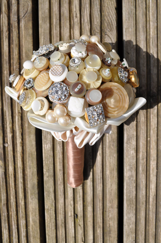 Neutral wedding colors vintage button bouquet