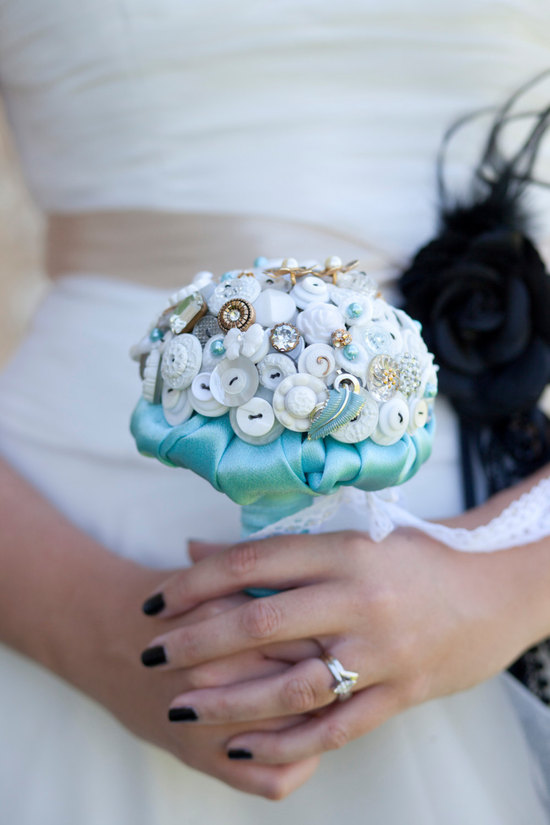 White gold and aqua button wedding bouquet