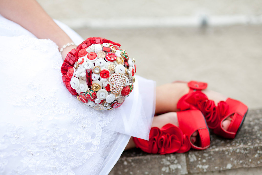 Whimsical red white gold button wedding bouquet