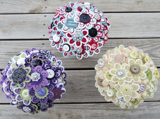 Felt and Button Wedding Bouquets