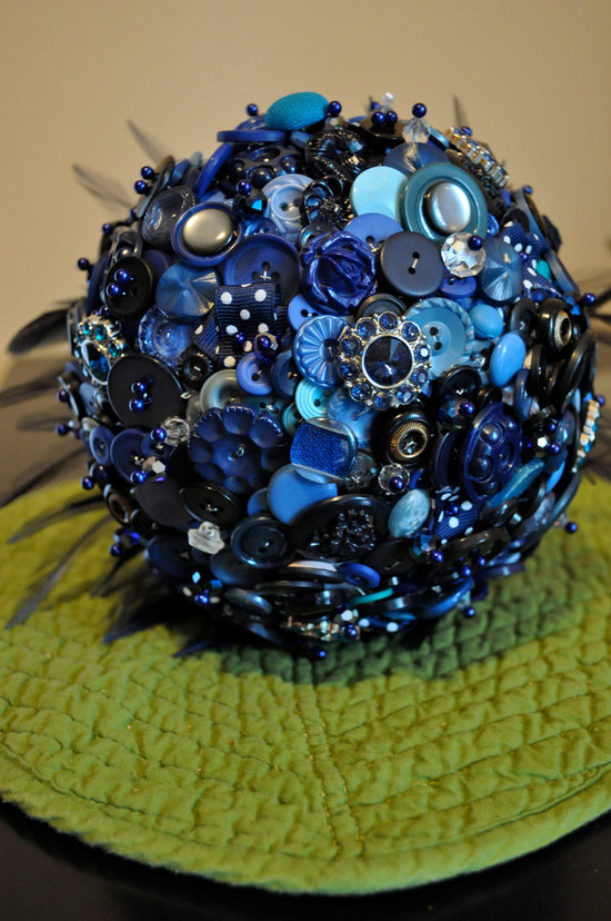 Something Blue Button and Brooch Wedding Bouquet
