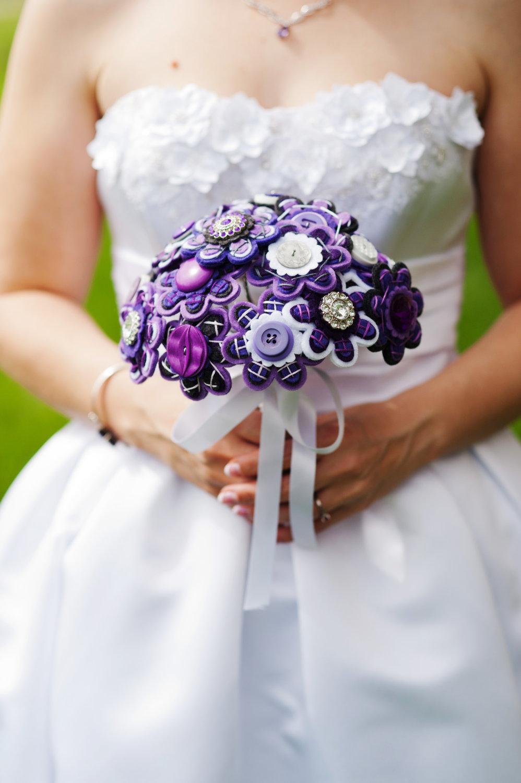 Button Bridal Bouquet Etsy : Purple and white button felt flower wedding bouquet