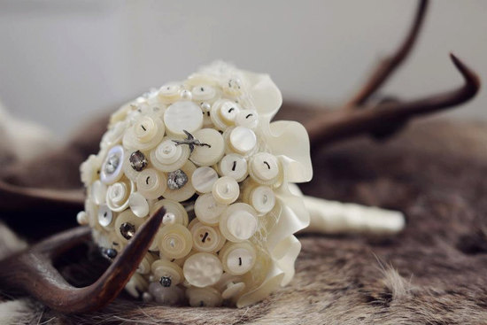 Ivory cream button wedding bouquet