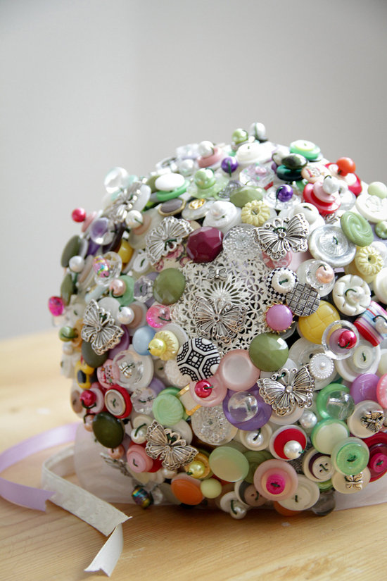 Whimsical vintage button bridal bouquet