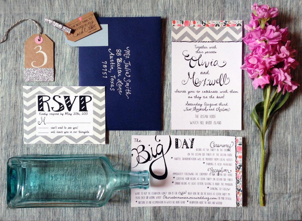 elegant modern wedding invitations white navy gray coral - Navy And Coral Wedding Invitations