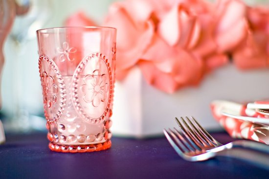 photo of Bright Coral Navy Wedding Reception Decor