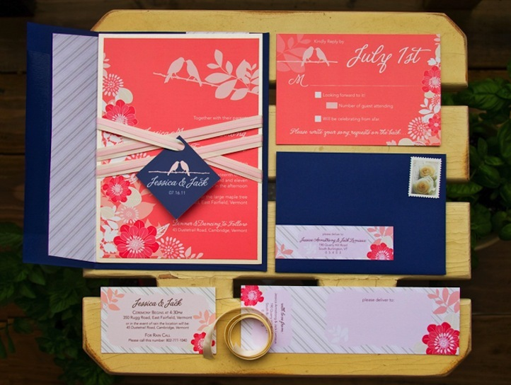 navy and coral wedding invitations, Wedding invitations