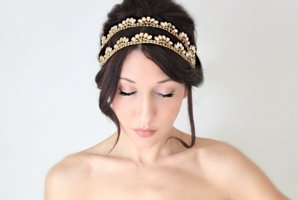 Double Band Gold Bridal Headband