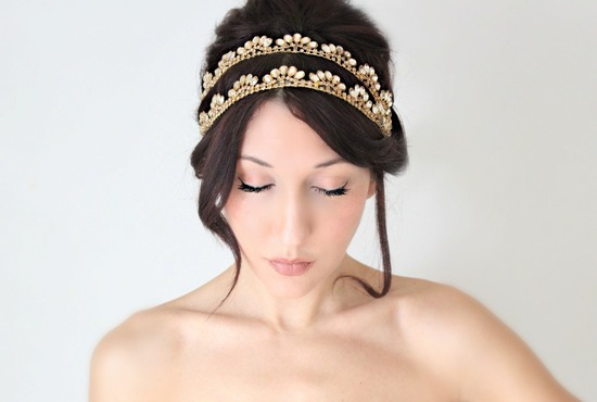Double band gold bridal headband