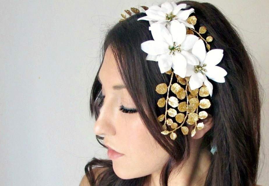 Gold leaves with white flowers wedding headpiece