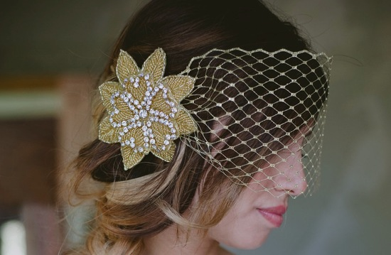 Gold beaded wedding hair flowers with blusher