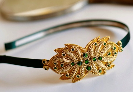 Gold and emerald wedding headband