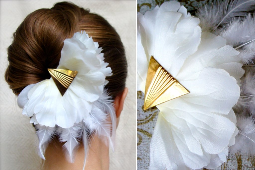 Art-deco-inspired-white-and-gold-wedding-hair-flower.full