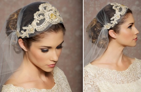 Gold embroidered wedding veil juliet style