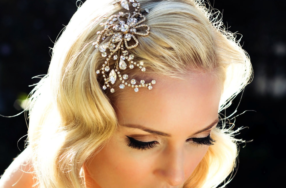 Blooming Swirls Elegant Wedding Hair Accessory Gold And Crystals | OneWed.com