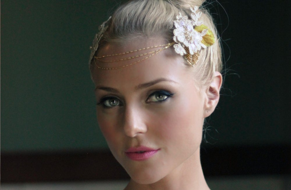 Gold and ivory halo bridal headpiece