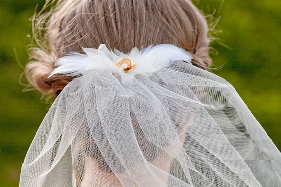 classic tulle wedding veil with gilded rosette