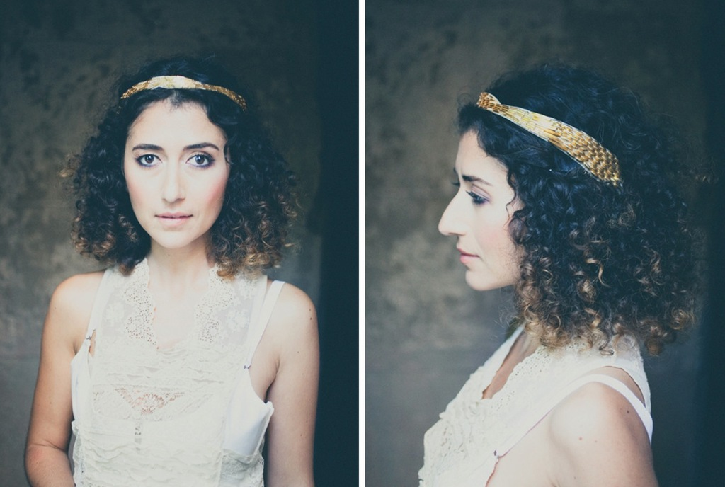 Gold sequin wedding headband