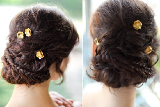 gold rosettes to adorn bridal updos