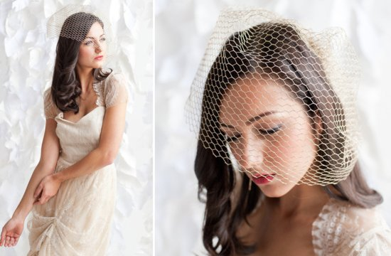 simple gold birdcage veil