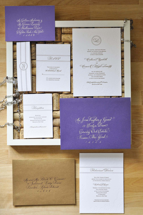 letterpress_gold_blind_impression_christa_alexandra_purple_calligraphy