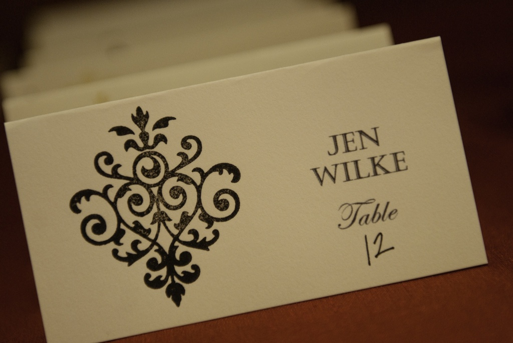 Classic wedding escort cards ivory and black