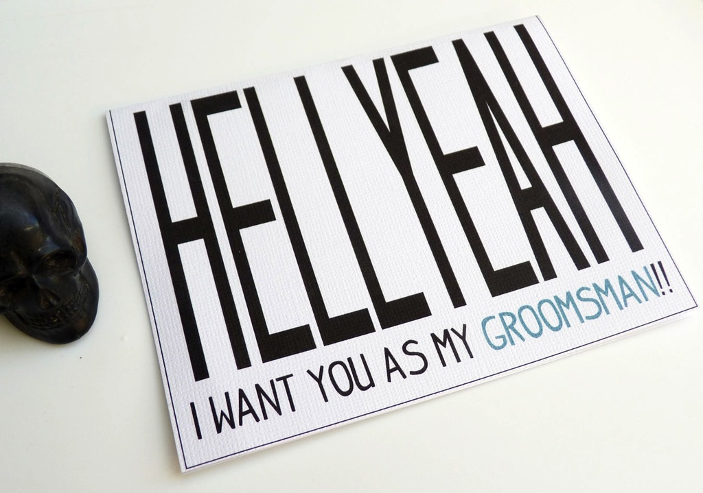 Funny card for asking groomsmen to stand up