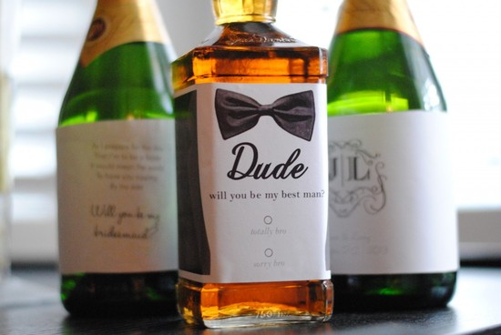 Personalized Whiskey Label for Popping the question to groomsmen