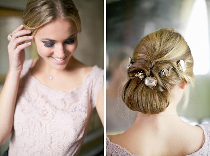 Unique Bridal Updo With Vintage Jewels