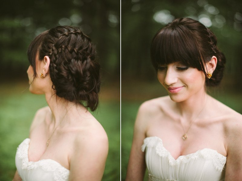 Braided wedding updo with bangs
