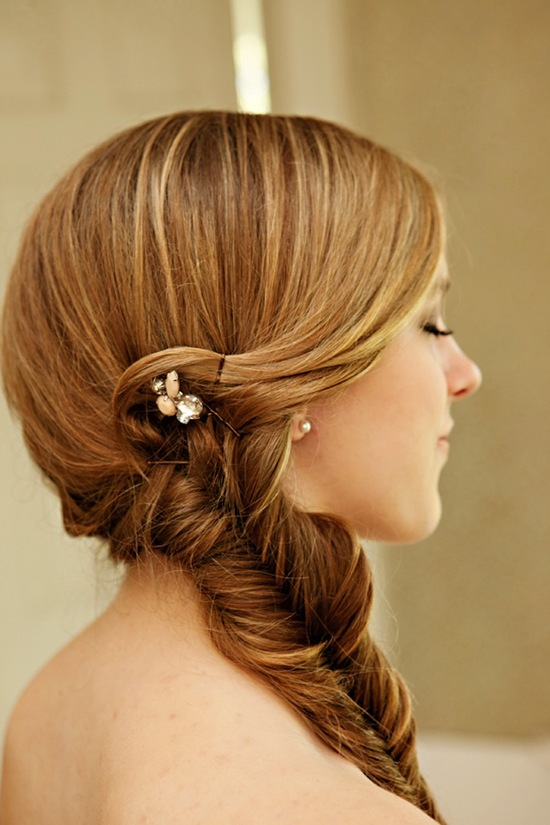 Sweet low braided wedding hairstyle