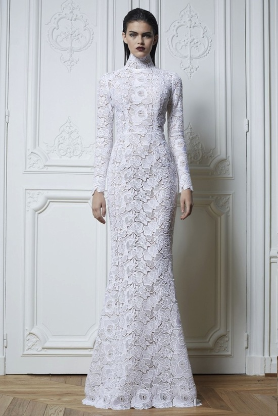 All lace Zuhair Murad wedding dress with sleeves