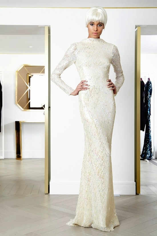 High neck sleeves wedding gown with elegant beading