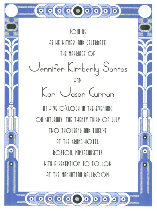 Great Gatsby Invitation -Blue