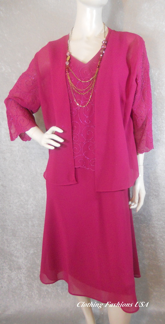 magenta color mother of the bride dress-001
