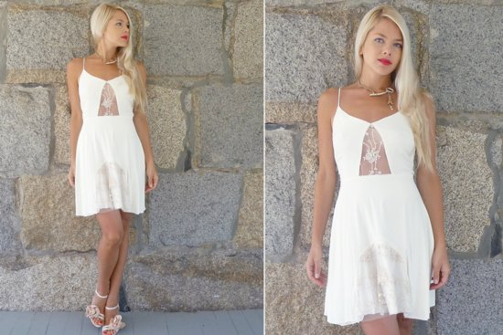 Ivory lace slip dress wedding reception LWD