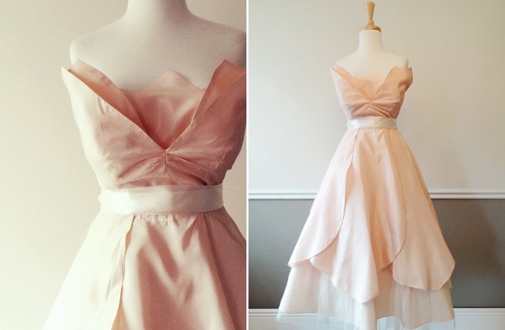 Blush pink wedding reception dress with sash