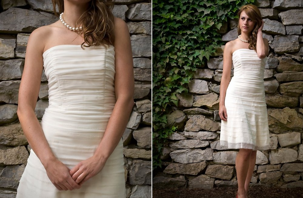 Strapless ruched LWD for wedding reception in ivory