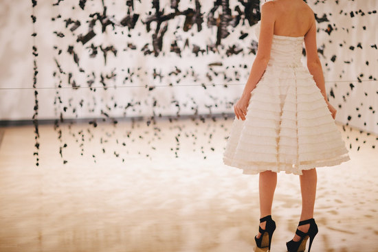 photo of Ivory LWD with ruffled tiers black wedding heels