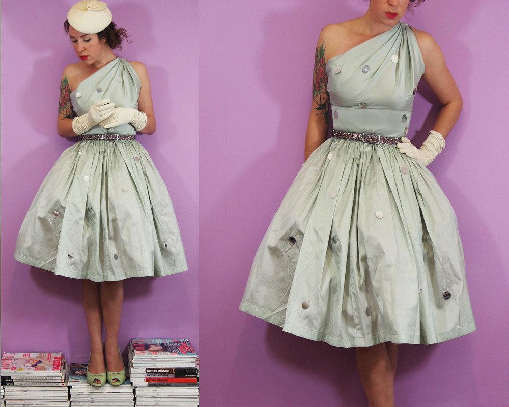 Vintage-inspired-light-blue-one-shoulder-wedding-dress.full