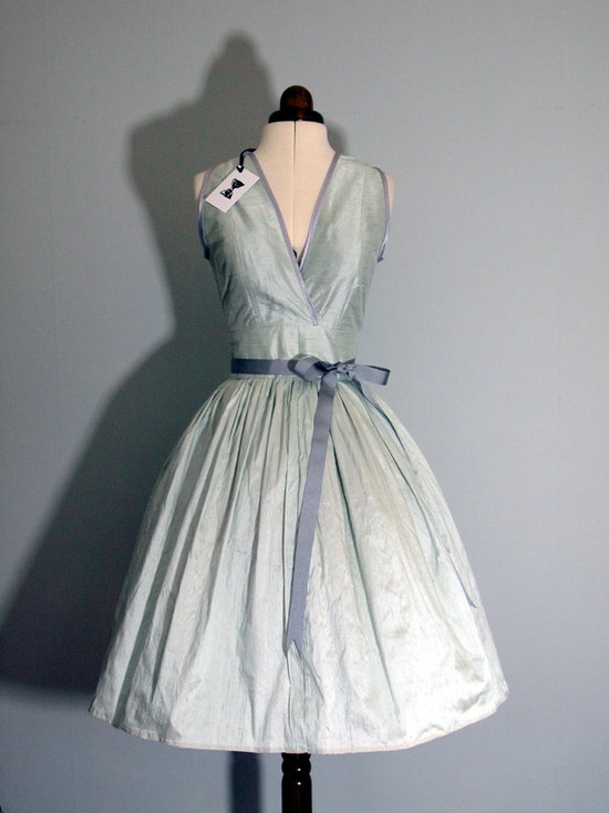 vintage inspired light blue one shoulder wedding dress