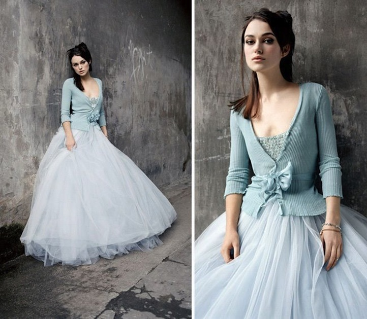 Romantic tulle wedding dress in pale blue