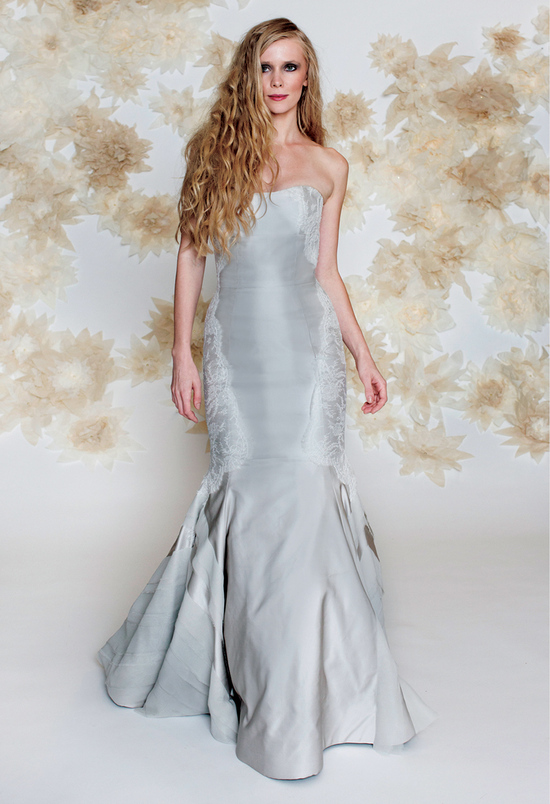 Blue wedding dress drop waist mermaid by Tara Latour