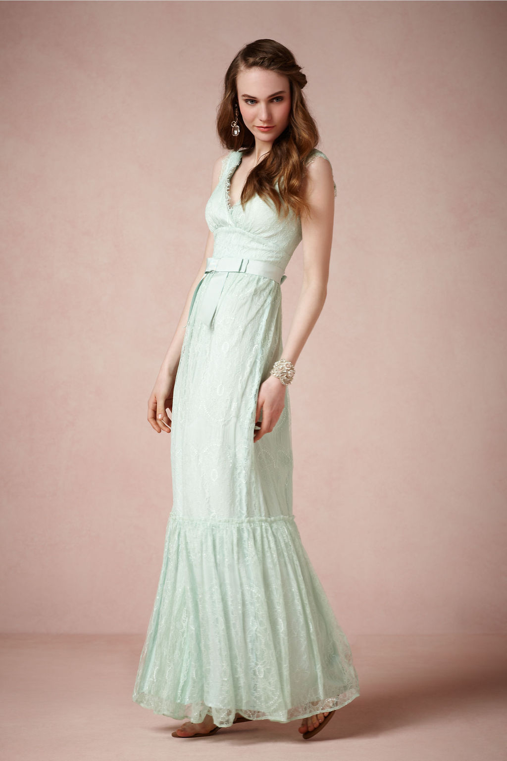 Pastel aqua lace wedding dress by bhldn | OneWed.com