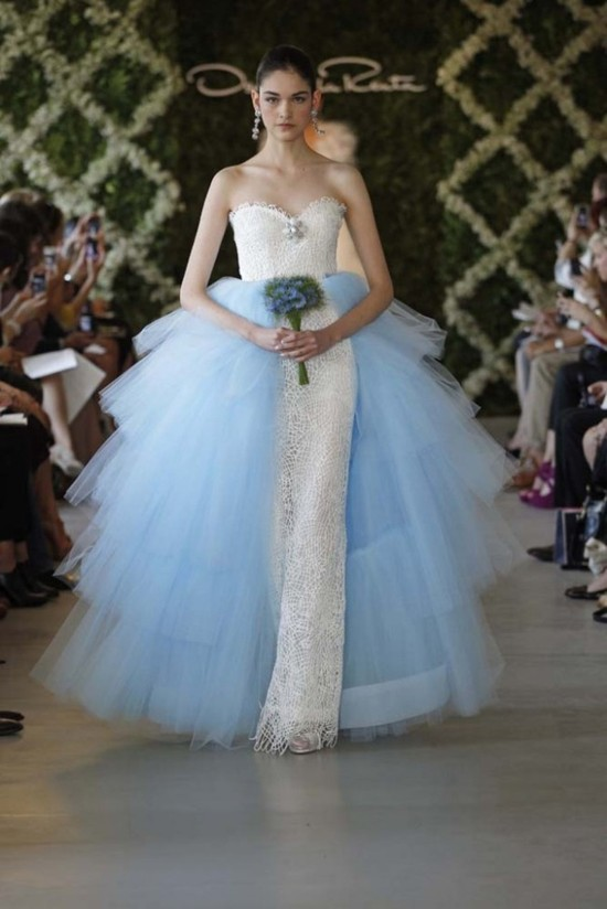 oscar de la renta bridal 2013 with detail light blue