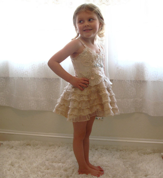 Lace embellished flower girl dress adorable wedding photo