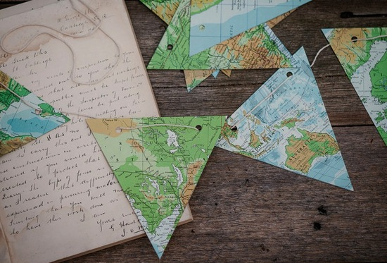 vintage map wedding reception bunting
