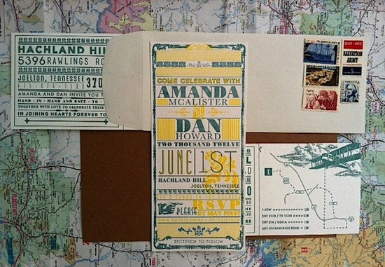 Retro travel wedding invitation suite