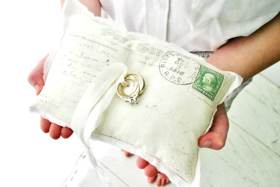 Vintage post card inspired wedding ring bearer pillow