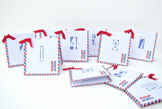 Red white blue wedding table numbers